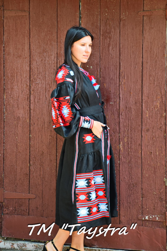 Boho Dress Embroidered, Black Dress linen, ethno, style boho chic, Bohemian Vyshyvanka Dress Multi Color Embroidery Linen, Ukrainian embroidery,Fashionable stylish evening dress
