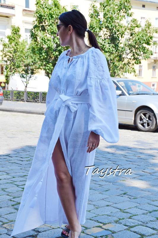 Embroidered Dress White Embroidery, White Linen Dress Vyshyvanka Ukrainian