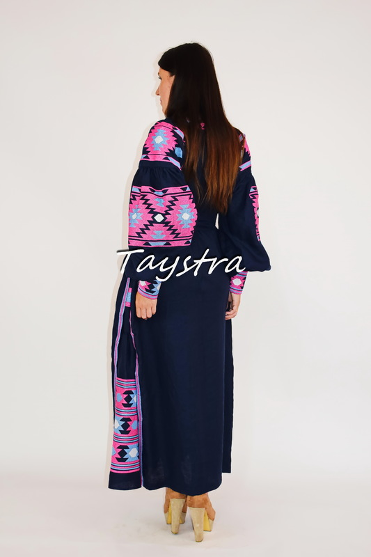 Dress Embroidered linen Dark Blue drees ethno style boho chic Vyshyvanka Dress Embroidered