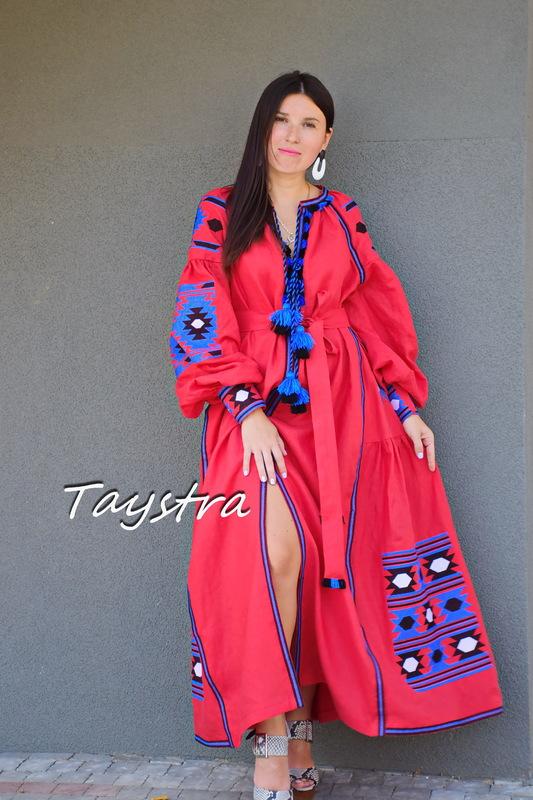 Boho Chic Dress Embroidered Red Maxi Linen Dress Vyshyvanka Ukrainian embroidery