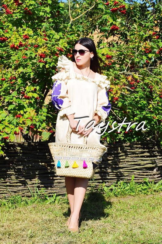 Embroidered Dress with Ruffles Linen Vyshyvanka Ukrainian embroidery