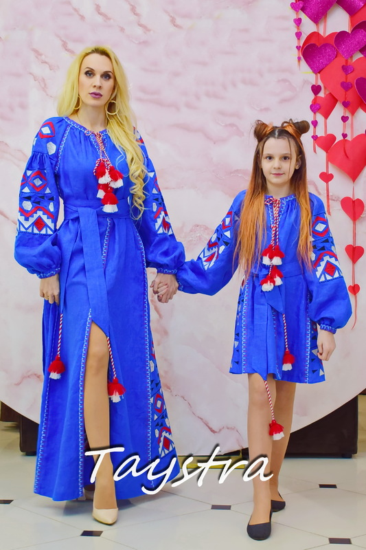 Embroidered clothes for mums and daughters ,for the mother and daughter, embroidered for family, embroidered linen, ethno, style boho chic, Bohemian, Vyshyvanka Dress Multi Color Embroidery Linen, Ukrainian embroidery, Two-piece clothes