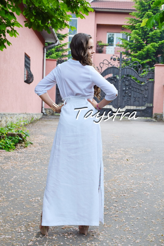 Skirt Embroidered Vyshyvanka Ukrainian embroidery boho ethno style, White skirt embroidered