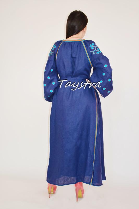 Vyshyvanka Blue Dress Ukrainian style boho chic Embroidered dress Multi Color Linen