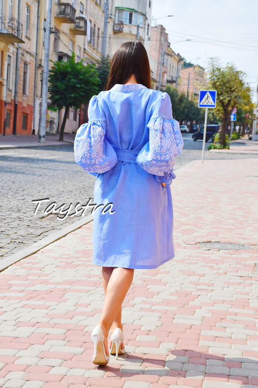 Blue Dress Color Embroidery Linen Vyshyvanka Ukrainian embroidery, Dressing Gown