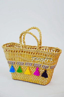 Women's bag decorated in ethnic style Handmade woven bag