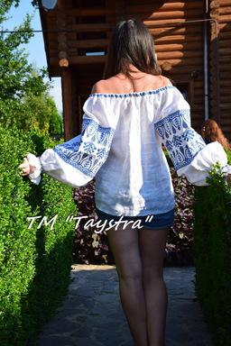 Open Shoulders Blouse Vyshyvanka, Blouse Ukrainian Embroidery,White Blouse Linen Boho style, Embroidered clothes Bohemian, ethno