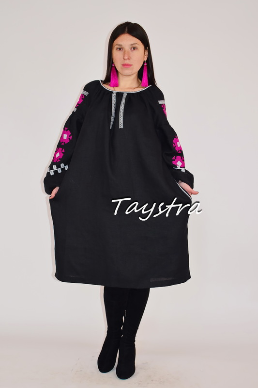 Black Dress Vyshyvanka Ukrainian embroidery, Midi Dress Boho,style boho chic, Embroidered dress Multi Color Embroidery Linen