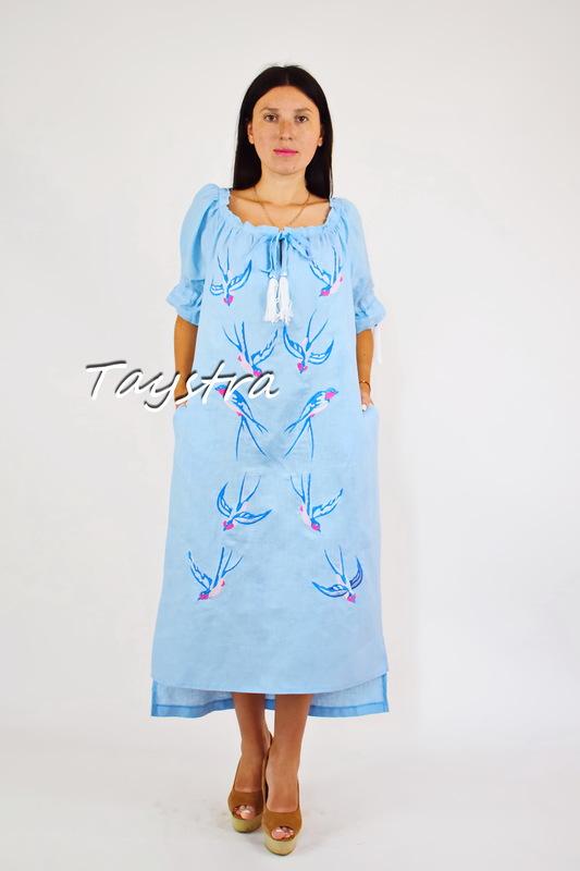 Vyshyvanka Dress Embroidery Linen, Ukrainian embroidery Sky-Blue Dress Embroidery Linen Ukrainian embroidery
