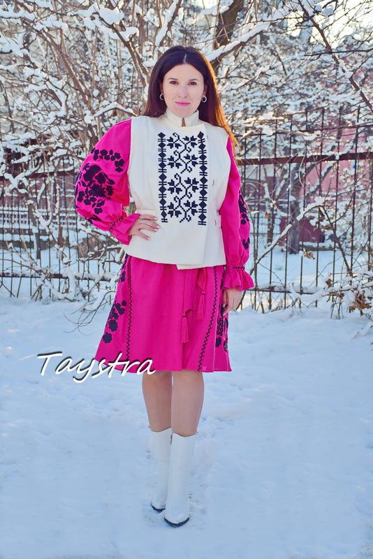 Dress Pink Raspberry Linen Dress Bohemian Vyshyvanka Ukrainian embroidery