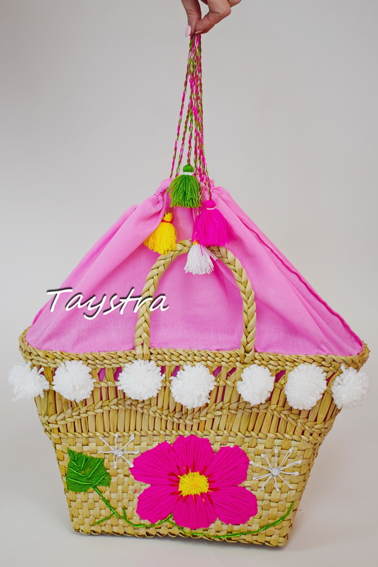 Handmade wicker bag with embroidery, women's bag decorated in ethno style