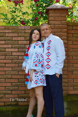 Two-piece embroidered linen clothes for two, for the wedding, embroidered for family, embroidered linen style boho chic, Bohemian, Vyshyvanka Dress Multi Color Embroidery Linen, Ukrainian embroidery