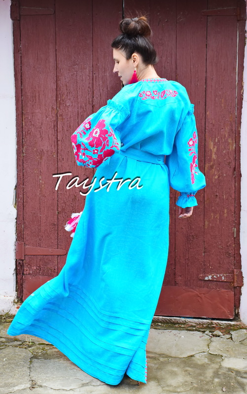 Embroidered Evening Maxi Dress, Turquoise Dress Boho Linen, ethno, style boho chic, for the wedding, Multi Color Embroidery Linen Dress