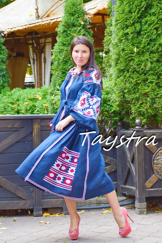 Dress Embroidered Vyshyvanka Maxi Dress Dark Blue Embroidery Linen Dress