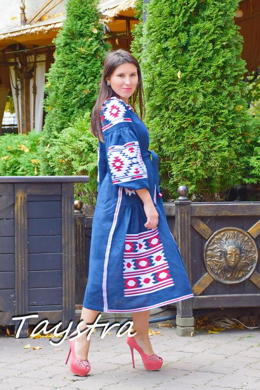 Dress Embroidered Vyshyvanka Maxi Dress Dark Blue Embroidery Linen Dress