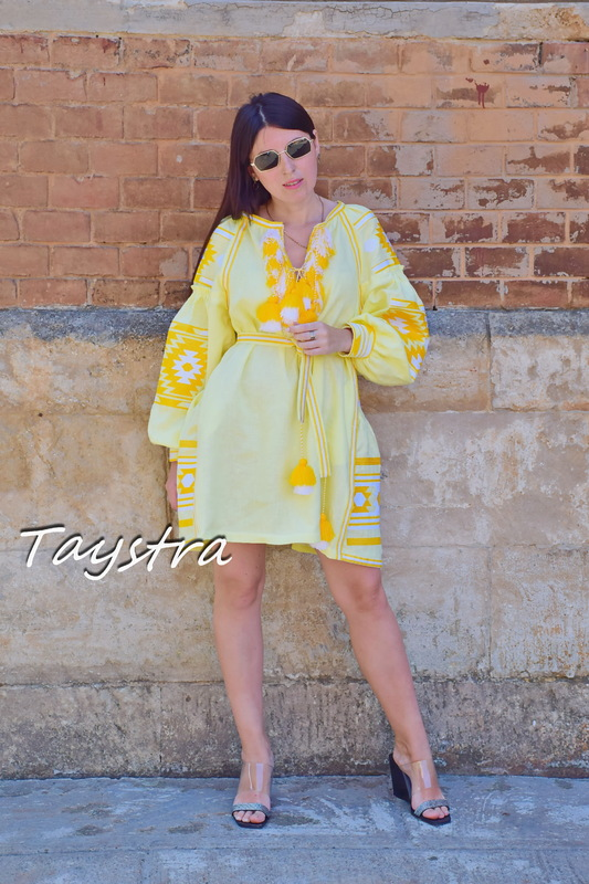 Yellow Dress Vyshyvanka Linen Short Dress Embroidered, Lemon Dress Linen Ukrainian embroidery