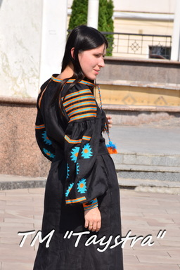 Embroidered Black Dress Boho, ethno, style boho chic, Bohemian, Vyshyvanka Dress Multi Color Embroidery Linen, Ukrainian embroidery