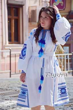 Vyshyvanka Dress Multi Color Embroidery Linen Dress Ukrainian embroidery