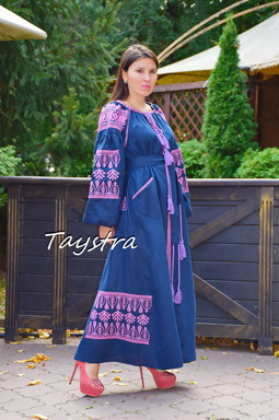 Dress Embroidered Vyshyvanka Blue Dress Multi Color Embroidery Linen Dress Ukrainian
