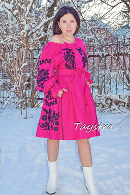Dress Pink Raspberry Linen Dress Bohemian Vyshyvanka Ukrainian embroidery