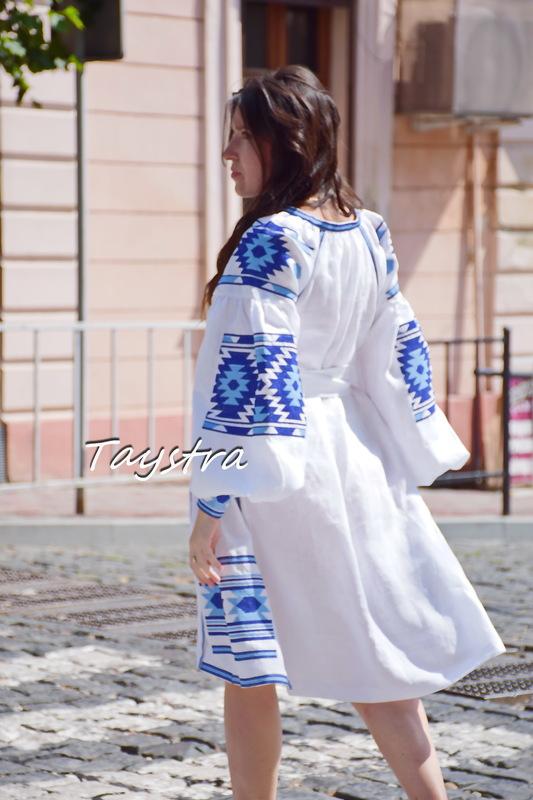 Vyshyvanka Dress Multi Color Embroidery Linen Dress Ukrainian embroidery