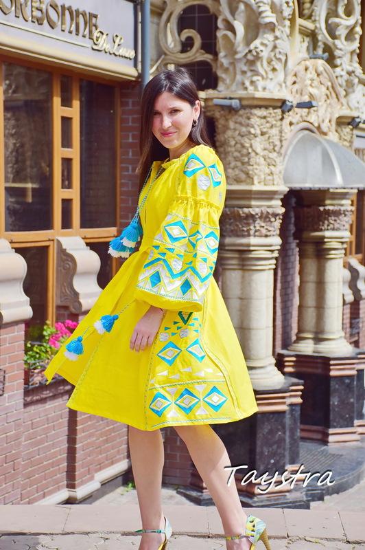 Yellow Short Dress Embroidered Vyshyvanka Dress Embroidery Linen Dress Gypsy