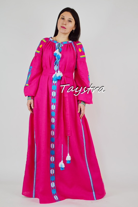 Dress Linen boho chic Vyshyvanka Dress Embroidered Bright Dress