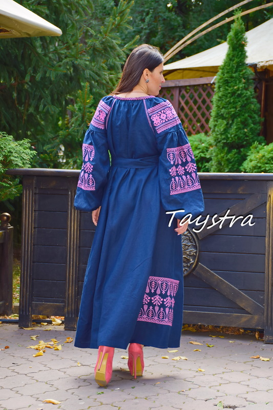 Dress Embroidered Vyshyvanka Blue Dress Multi Color Embroidery Linen Dress Ukrainian