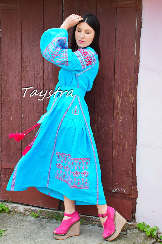 Embroidered Maxi Dress, ethno style boho chic, Bohemian Vyshyvanka Dress Multi Color Embroidery Linen, Ukrainian embroidery