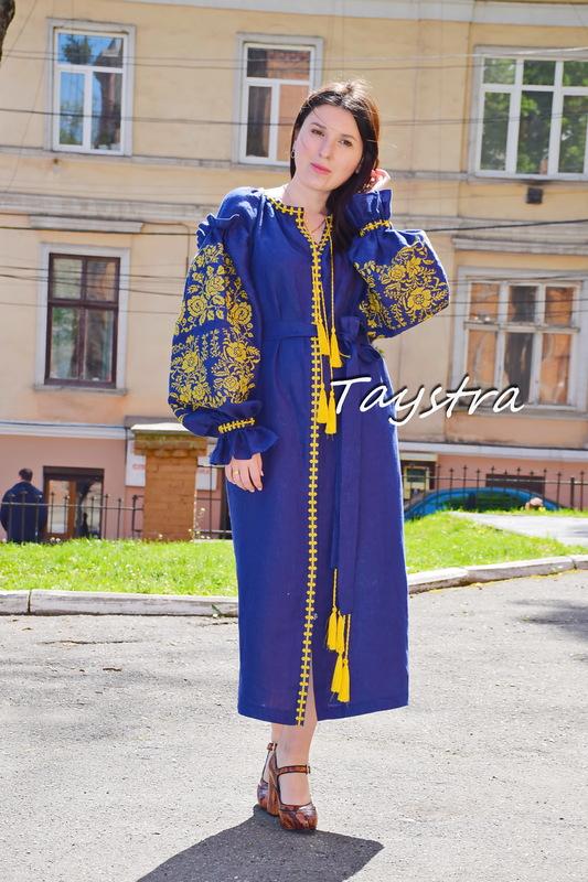 Embroidered Maxi Dress Boho Gold Embroidery, ethno, style boho chic, Bohemian, Vyshyvanka Dress Multi Color Embroidery Linen,  Ukrainian embroidery, Blue Dress