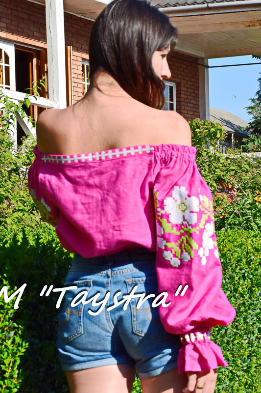Vyshyvanka,Embroidered Blouse Pink,Ukrainian Embroidery, Boho, ethno, style boho chic, raspberry, Multi Color Embroidery Linen, Blouse open shoulders