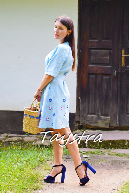 Embroidered Dress Linen Vyshyvanka Dressing Gown Ukrainian embroidery Sky-Blue Dress
