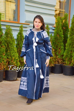 Vyshyvanka Dress Dark Blue Embroidery Linen Dress Embroidered