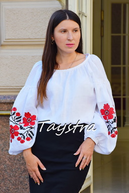 Embroidered Blouse White Vyshyvanka Multi Color Embroidery Linen Ukrainian embroidery