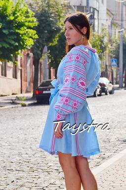 Short Dress Linen Embroidered Dress Vyshyvanka Multi Color Embroidery Linen, Ukrainian embroidery