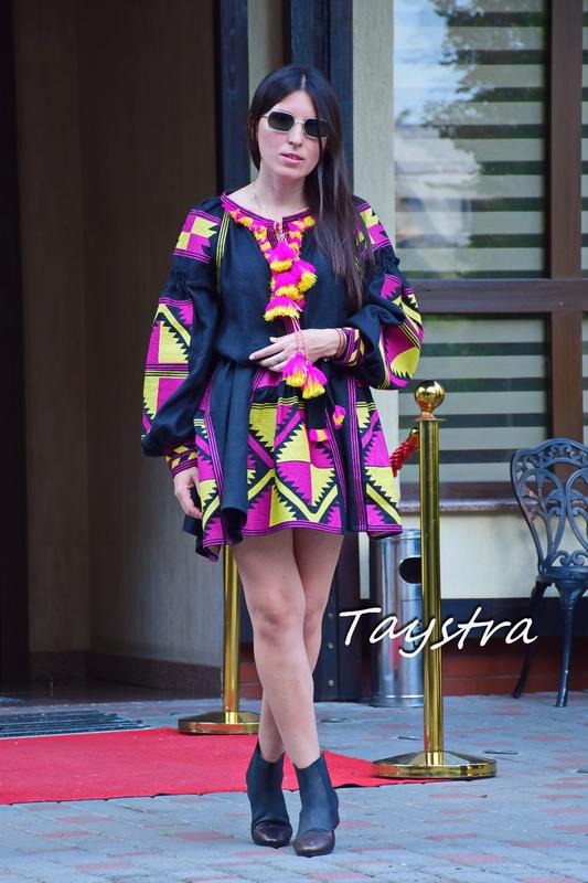 Black Dress Bohemian Vyshyvanka Dress Multi Color Embroidery Linen, Ukrainian embroidery Dress Boho Embroidered Wedges,