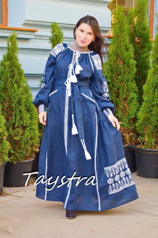 Vyshyvanka Dress Dark Blue Embroidery Linen Dress Embroidered