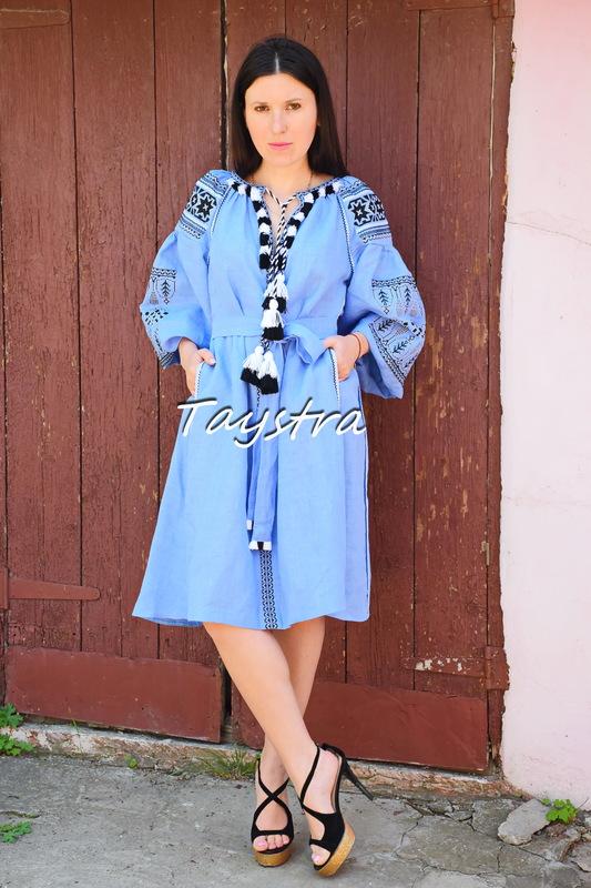 Short Blue Dress Embroidered style boho chic Bohemian Vyshyvanka Dress Multi Color Embroidery Linen Ukrainian embroidery