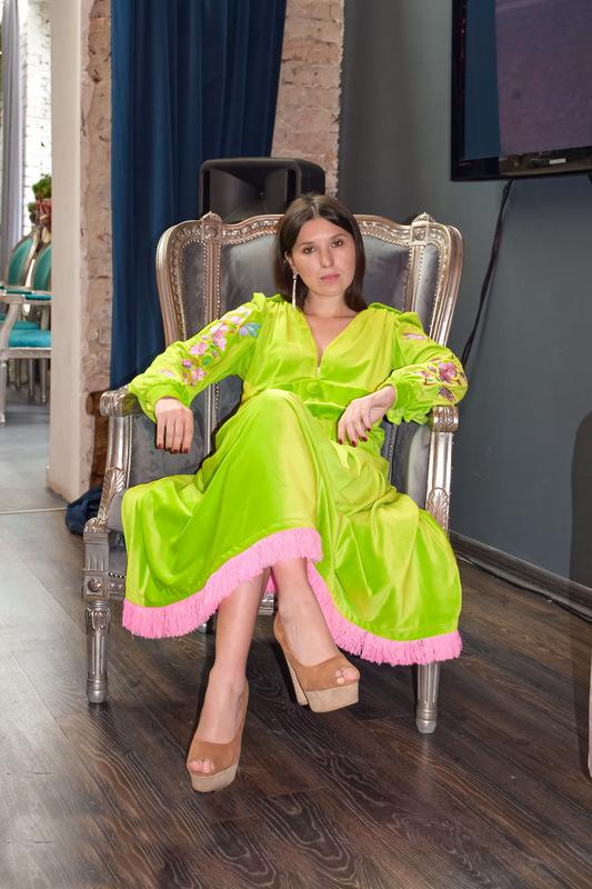 Long Vyshyvanka Dress, Velvet Dress Bright Green, Neon Dress Fashionable