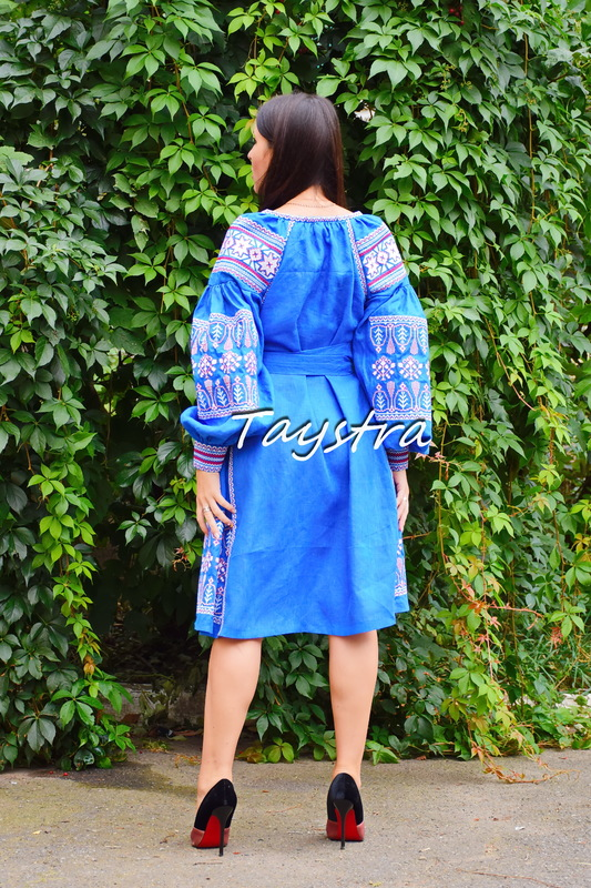 Embroidered dress boho chic Vyshyvanka Dress Multi Color Embroidery Linen, Ukrainian embroidery
