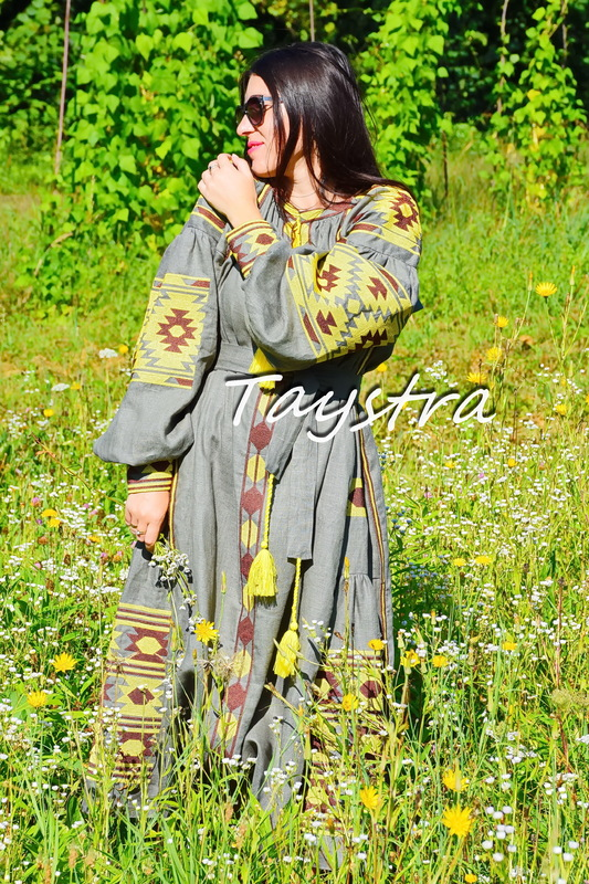 Embroidered Dress linen ethno style boho chic Vyshyvanka Dress Embroidered