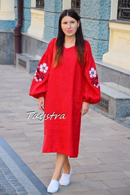 Embroidered dress linen tunic vyshyvanka Ukrainian embroidered, Boho style, Bohemian, ethno