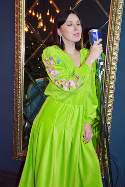 Long Vyshyvanka Dress, Velvet Dress Bright Green, Neon Dress Fashionable