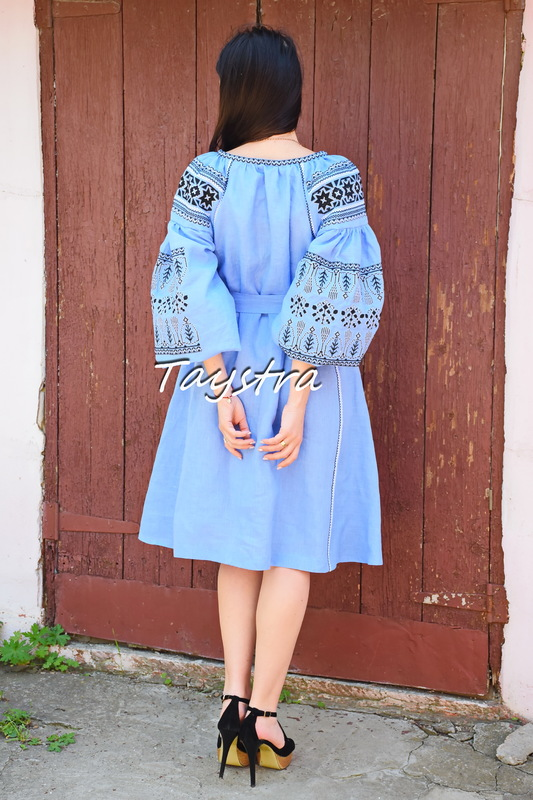 Short Blue Dress Embroidered style boho chic Bohemian Vyshyvanka Dress Multi Color Embroidery Linen Ukrainian embroidery