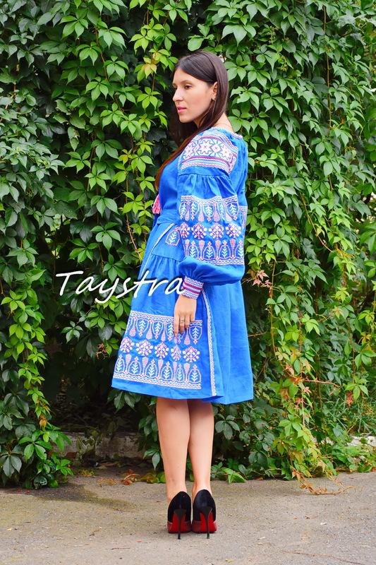 Embroidered dress boho chic Vyshyvanka Dress Multi Color Embroidery Linen, Ukrainian embroidery