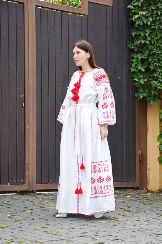 Embroidered Dress Red Embroidery, White Linen Dress Vyshyvanka Ukrainian