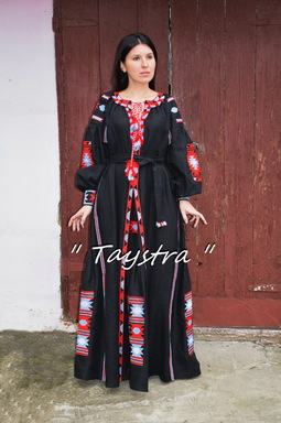 Dress Embroidered 4 wedges Boho, ethno style boho chic, Bohemian, Vyshyvanka Dress Multi Color Embroidery Linen, Ukrainian embroidery, Black Dress