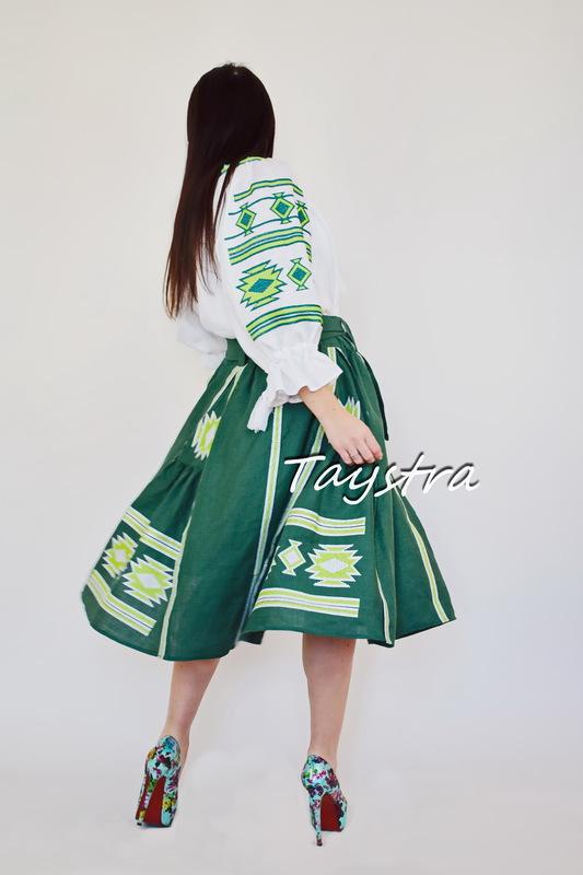 Skirt embroidered, women's skirt boho green skirt with belt, embroidered linen clothes