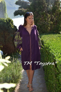 Short dress of flax embroidered tunic, embroidered Boho style, Bohemian, ethno, tunic in Boho-style, purple dress