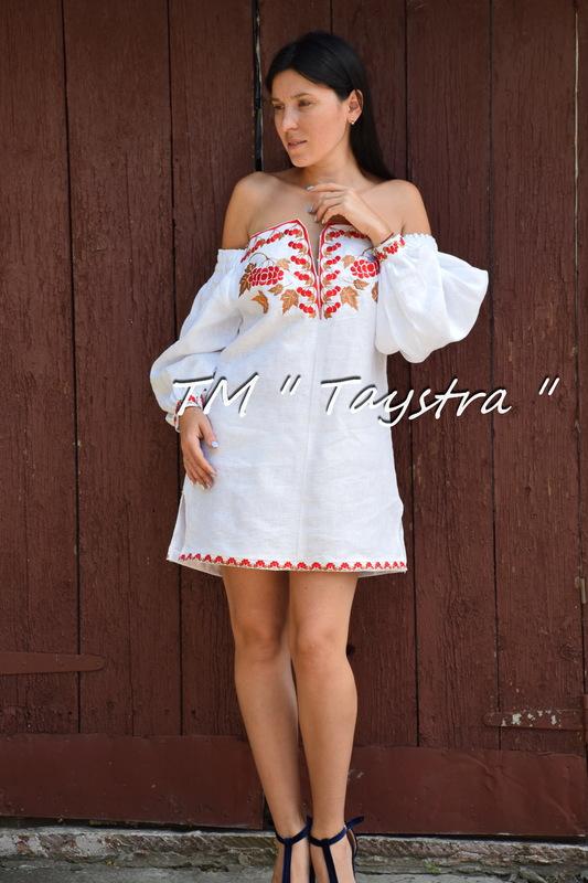 f842213dc6 Vyshyvanka Embroidered Short White Dress Tunic Linen